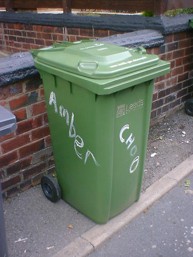Green wheelie bin with Amber and Choo daubed on two sides with white paint.