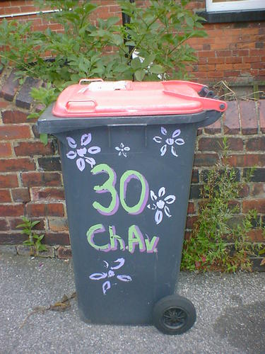 A wheelie bin with painted flowers and the word Chav, for Chestnut Avenue