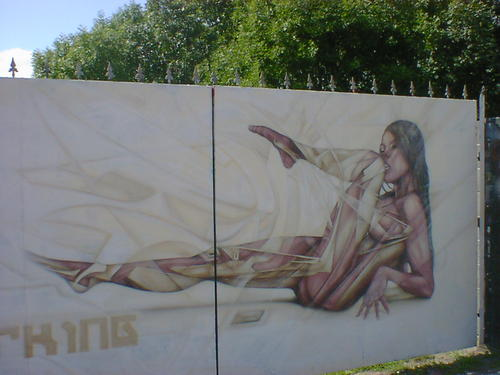 Graffiti artwork; a futuristic nude on some iron gates.