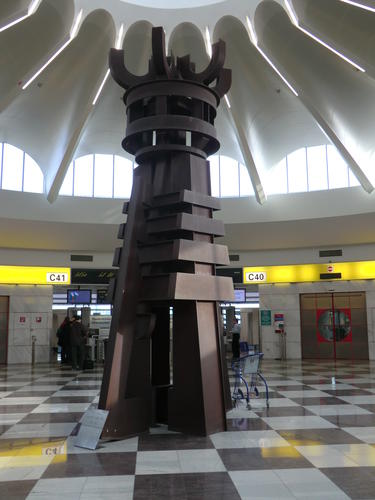 Large steel chess king sculpture
