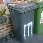 Cricket stumps spray-painted on a wheelie bin.
