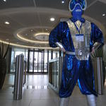 Andrew in a blue and silver spacesuit