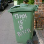 Titch is a Bitch, sprayed on the side of a wheelie bin.